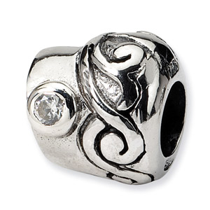 .925 Sterling Silver CZ Bead