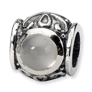 .925 Sterling Silver Genuine Stone Barrel Bead