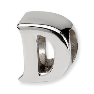 .925 Sterling Silver Letter D Bead