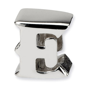 .925 Sterling Silver Letter E Bead
