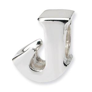 .925 Sterling Silver Letter J Bead