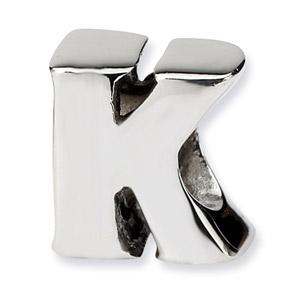 .925 Sterling Silver Letter K Bead