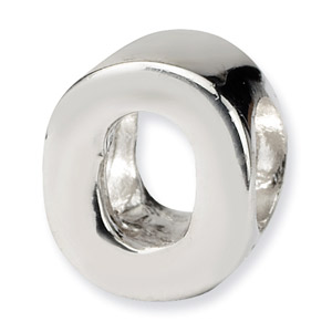 .925 Sterling Silver Letter O Bead