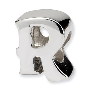 .925 Sterling Silver Letter R Bead