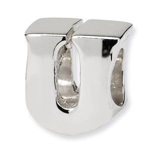 .925 Sterling Silver Letter U Bead