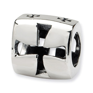 .925 Sterling Silver Maltese Cross Bead