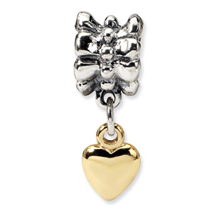 Sterling Silver & 14K Gold Heart Dangle Bead