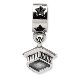.925 Sterling Silver Graduation Cap Dangle Bead