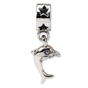 .925 Sterling Silver Dolphin Dangle Bead