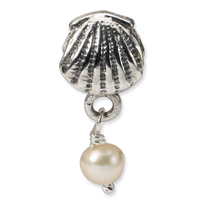 Sterling Silver Shell Cultured Pearl Dangle Bead