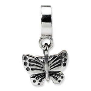 .925 Sterling Silver Butterfly Dangle Bead