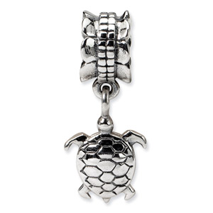 .925 Sterling Silver Turtle Dangle Bead