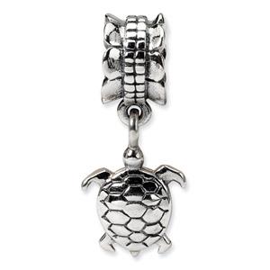 .925 Sterling Silver Turtle Dangle Bead
