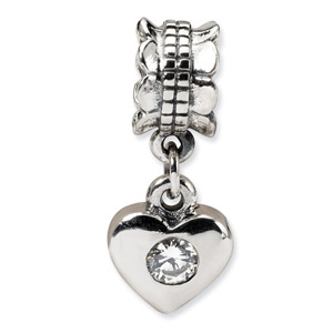 .925 Sterling Silver CZ Heart Dangle Bead