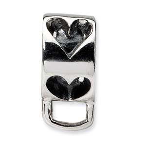 .925 Sterling Silver Heart w/Loop for Click-on Bead
