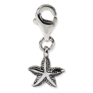 .925 Sterling Silver Starfish Click-on for Bead