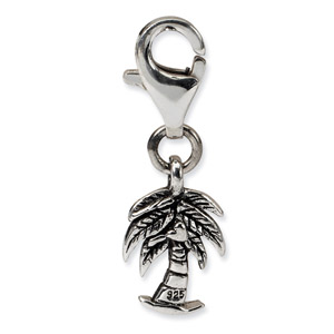 .925 Sterling Silver Palm Tree Click-on for Bead