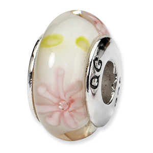 Pink Floral Murano Glass and .925 Sterling Silver Bead