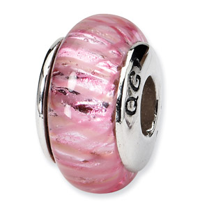 Metallic Pink Hand Blown Glass and .925 Sterling Silver Bead