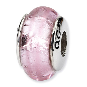 Sterling Silver Pink Hand-blown Glass Bead