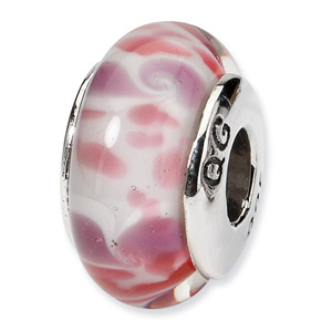 Pink Hand Blown Glass and .925 Sterling Silver Bead