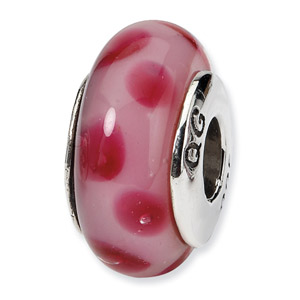 Pink Polka Dots Hand Blown Glass and .925 Sterling Silver Bead