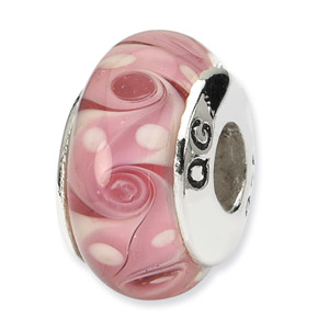 Pink Swirl Hand Blown Glass and .925 Sterling Silver Bead