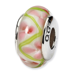 Pink and Green Floral Hand Blwon Glass and .925 Sterling Silver Bead