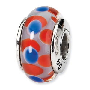Red and Bluw Polka Dots Hand Blown Glass and .925 Sterling Silver Bead