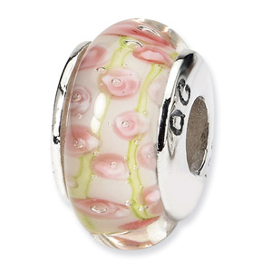 Pink Rosebuds Murano Glass and .925 Sterling Silver Bead