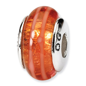 Orange Hand Blown Glass and .925 Sterling Silver Bead