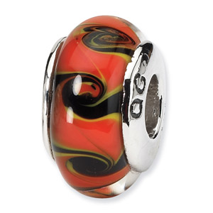 Red and Black Swirl Hand Blown Glass and .925 Sterling Silver Bead
