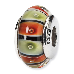 Orange , Black and Light Green Hand Blown Glass and .925 Sterling Silver Bead