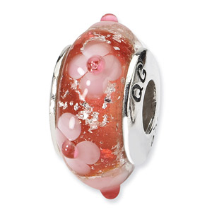 Pink and Red Floral Hand Blwon Glass and .925 Sterling Silver Bead