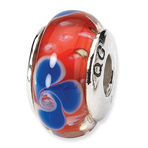 Red with Blue Flowers Murano Glass and .925 Sterling Silver Bead