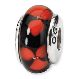Black adnd Red Floral Hand Blown Glass and .925 Sterling Silver Bead