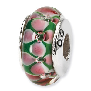Sterling Silver Pink & Green Hand-blown Glass Bead