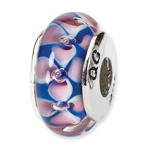 Blue and Pink Floral Murano Glass and .925 Sterling Silver Bead