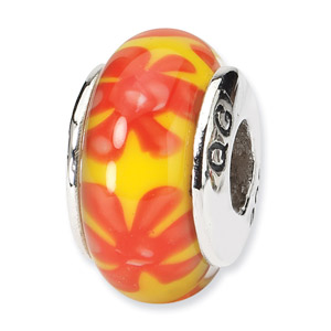 Yellow and Orange Floral Hnad Blown Glass and .925 Sterling Silver Bead