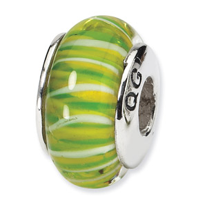 Green Striped Hand Blown Glass and .925 Sterling Silver Bead