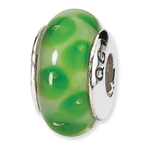 Sterling Silver Green Hand-blown Glass Bead