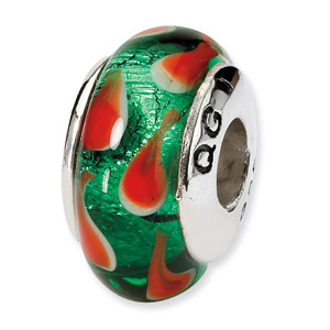 Green and Red Hand Blown Glass and .925 Sterling Silver Goldfish Bead