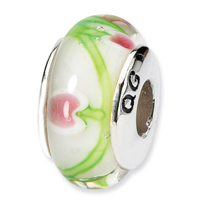Cherries Hand Blown Glass and .925 Sterling Silver Band