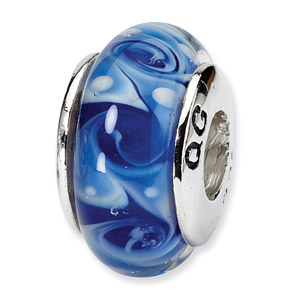 Blue Swirl Hand Blown Glass and .925 Sterling Silver Bead
