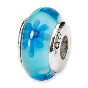 Blue Floral Hand Blown Glass and .925 Sterling Silver Bead