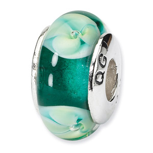 Sterling Silver Green Floral Hand-blown Glass Bead