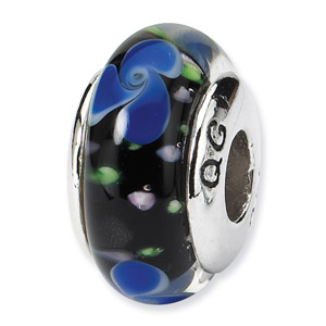 Sterling Silver Blue Hand-blown Glass Bead