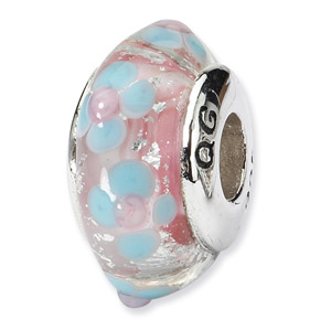 Sterling Silver Blue & Pink Hand-blown Glass Bead