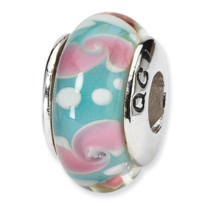 Aqua and Pink Floral Hand Blown Glass and .925 Sterling Silver Bead