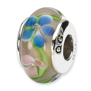 Blue and Pink Hand Blown Glass and .925 Sterling Silver Bead